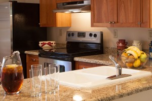 Designer kitchens with granite countertops and stainless steel appliances are available in select Casitas.