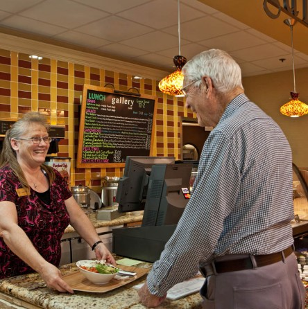 La Cholla resident ordering a sandwich at the cafe