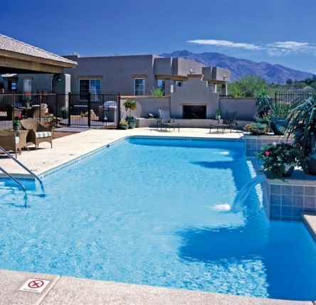 club house pool view of mountains