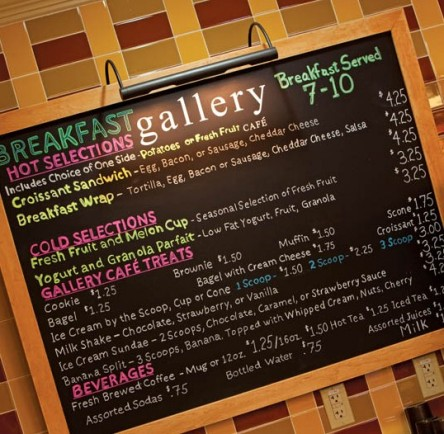 Gallery Cafe menu board