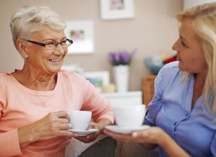 Residents enjoy coffee together