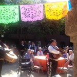 Mariachi Luz de Luna entertaining on the patio as residents enjoy Huevos Rancheros, French Toast Bake, Bacon, Sausage, Home Fries with Roasted Tomato Aioli, Refried Beans, Warm Tortillas, Salsa Fresca, Fresh Cubed Fruit, Assorted Pastries, Churros. Arriba!