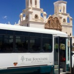 The Fountains bus at the San Xavier Mission.