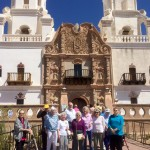 The group in front of the entrance to the Mission.