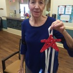 Jeanne showing off her finished decoration!