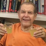 Buzz really celebrating Seniors Day with two margaritas!