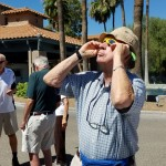 Residents viewing the eclipse last Monday.