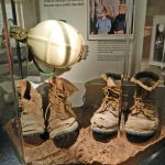 Boots belonging to Randy Tufts and Gary Tenen who discovered the cave in 1974. They kept the cave a secret to ensure that this natural wonder would remain protected for years to come. The Kartchners who owned the land and Tenen and Tufts were instrumental in creating Kartchners Caverns State Park.