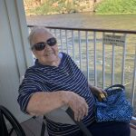 Virginia enjoy the outer deck on the Dolly Steamboat.