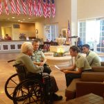 ROTC Students visiting with Veterans on Veterans Day in years past.