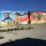 In Tucson, bicycling plus murals equal perfection. That's what local muralist Joe Pagac was counting on when he launched a Kickstarter campaign to fund this enormous mural (130 feet wide and 30 feet tall) at Sixth Street and Stone Avenue. It features a man, woman, tortoise javelina and jackrabbit riding bikes.