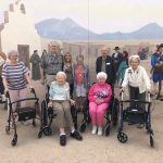 Emily, John, Marilyn, Judy, Dick, Mary, Frances, and Mickey in front of the beautiful mural at the Presidio San Agustin Del Tucson. What a wonderful morning we spent here!